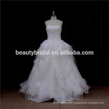 LA5099 pleated organza ruffle design wedding dress strapless wedding gown 2016